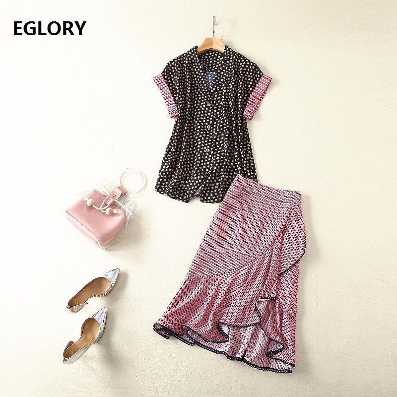 Women's Set 2019 Summer Fashion Skirt Suit Woman Notched Collar Chic Print Short Sleeve Shirt+Cute Birds Print Pink Skirt Sets thumbnail