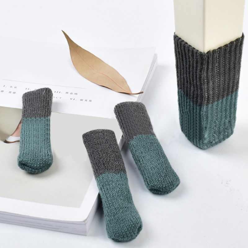 4Pcs 고양이 발 테이블 발 양말의 자 다리 커버 층 프로텍터 비-슬립 가구 만화 홈 장식에 대 한 양말 뜨개질