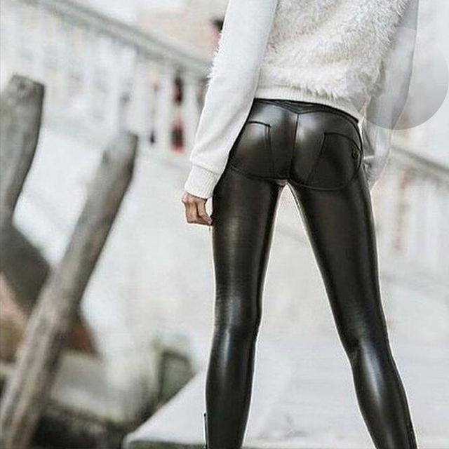 2016 Freddy Casuais Meados Calças de Cintura Leggings Plus Size Push Up Leggings Hip Elástica Calças De Couro Falso