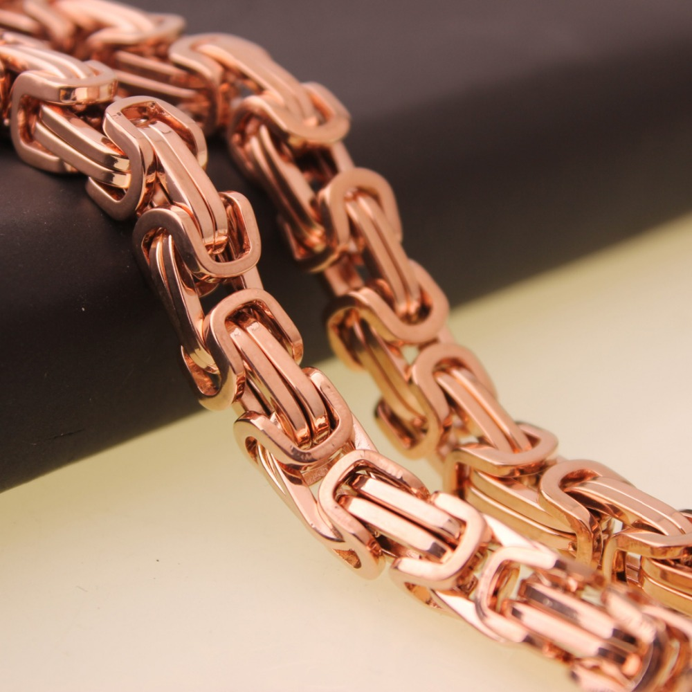 7″-40″ 4/5/8mm Strong Men/Mamen New Charm Byzantine Chain Necklace/Bracelet Jewelry Rose Gold Color