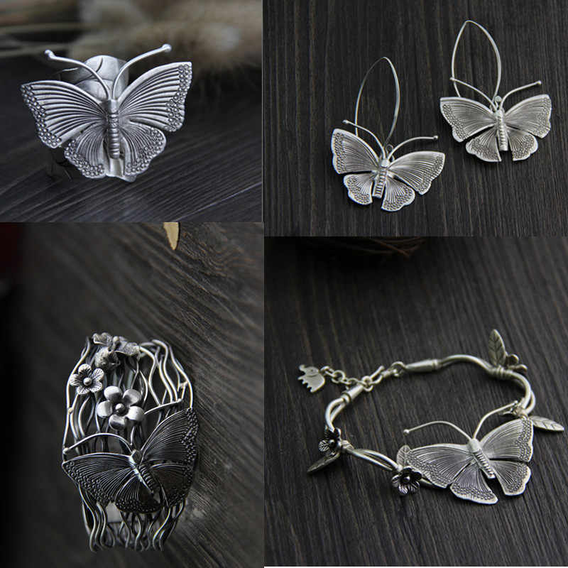 Thai Silver Jewelry Sets Classic Butterfly Rings Extra Wide Armband Bracelets Ethnic Style 925 Sterling Silver Earring for Women