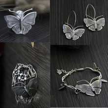Buyee 925 Sterling Silver Classic Jewelry Sets Butterfly Extra Wide Armband Bracelets Ethnic Style Rock Punk Earring for Women