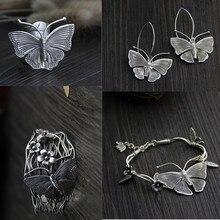 Kupię 925 srebro klasyczne zestawy biżuterii motyl bardzo szeroki Armband bransoletki w stylu etnicznym Rock punkowy kolczyk dla kobiet