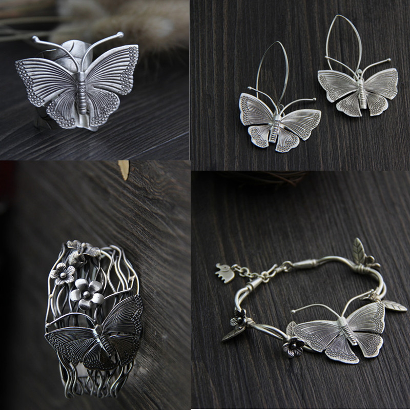 Thai Argent Bijoux Ensembles Classique Papillon Anneaux Extra Large Brassard Bracelets Ethniques Style 925 Bijoux En Argent Boucle D'oreille pour les Femmes