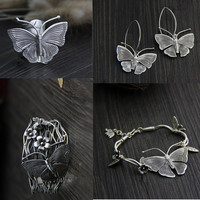 Thai Silver Jewelry Sets Classic Butterfly Rings Extra Wide Armband Bracelets Ethnic Style 925 Silver Jewelry Earring for Women