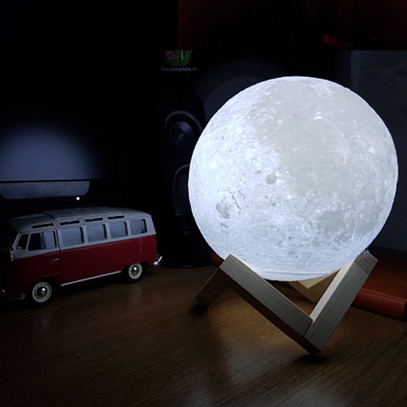 Novelty Rechargeable 3d Print Moon Led Lamp Bulb Touch Switch Dimmer Desk Table Bedroom Bookcase Decoration Creative Kids Gift