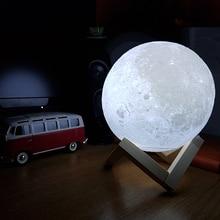 Новинка аккумуляторная 3D печать луна светодиодная лампа сенсорный выключатель диммер стол стол спал
