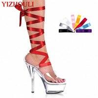 15cm ultra high heels shoes crystal ribbon platform sandals 6 inch heel interchangable ribbon laces. colour ribbons Dance Shoes