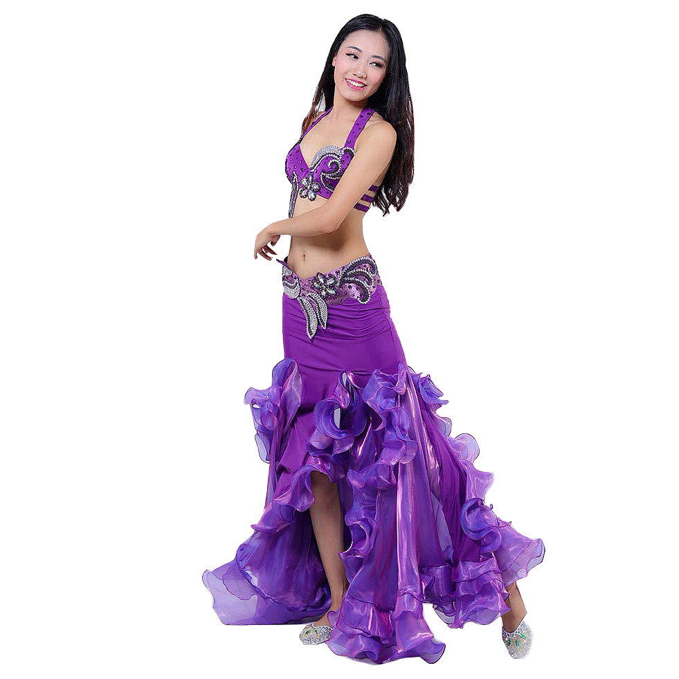 Stage Performance Luxury Belly Dancing Egyptian Costumes Oriental Style Rhinestone Bra Belt Skirt Belly Dance 3pcs