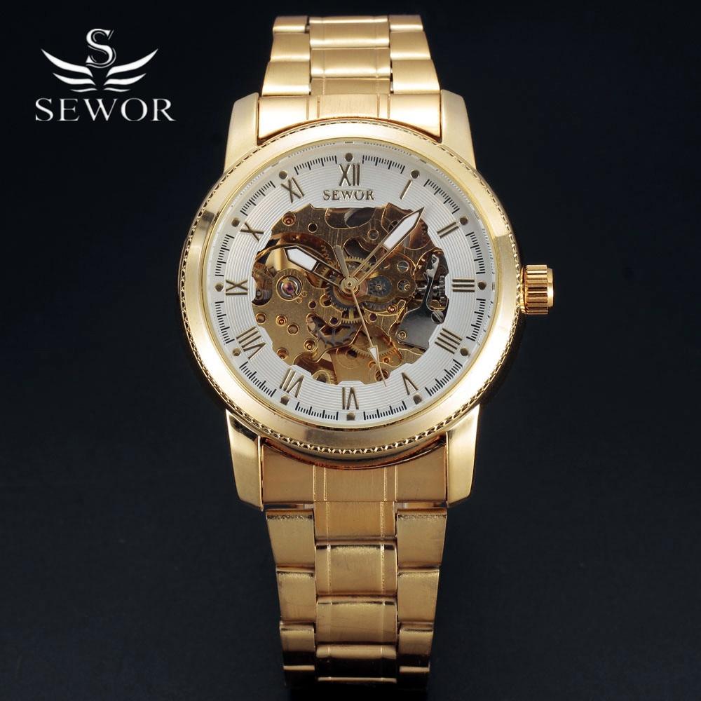SEWOR Watches Men Fashion Relogio Masculino Automatic Mechanical Gold Skeleton Watch 2016 Mens Wristwatch Top Brand Luxury