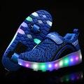 2017 novas crianças roller shoes meninos meninas automática led iluminado piscando patins caçoa as sapatilhas da moda com um/dois rodas