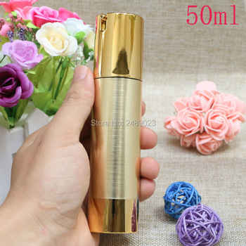 Gold Wire-drawing Empty Cosmetic Airless Bottle Portable Refillable Pump Dispenser Bottles For Travel Lotion 100pcs/lot 30ml