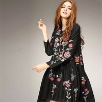 2017 Women Vintage Long Sleeve Flower Floral Embroidery Black Dress Elegant Vestidos Casual Loose Round Collar