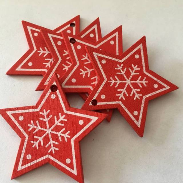 10pcs/set White Red Christmas Tree Ornament Wooden Hanging Pendants Angel Snow Bell Elk Star Christmas Decorations for Home 4