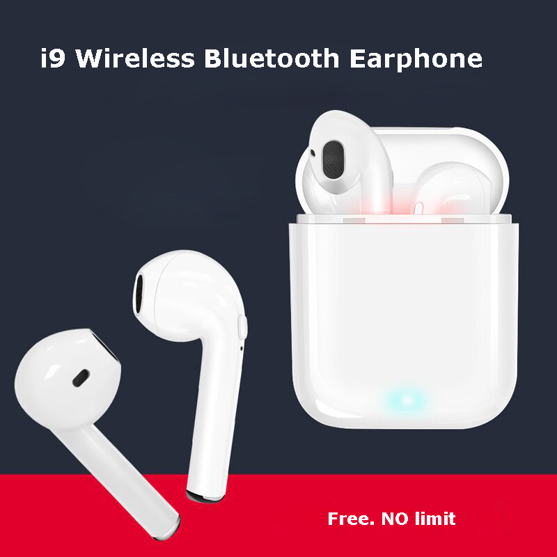 I9 Mini TWS Wireless Bluetooth Earphone Double ear Earbuds Hands Free Stereo Headsets With Mic For iPhone Samsung Android цена