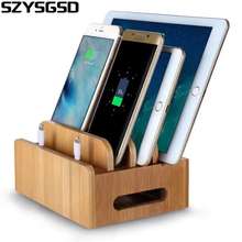bamboo multidevice cords charging station docks holder stand for smart phones and tablets for iphone for samsung galaxy phones - Iphone Charging Station