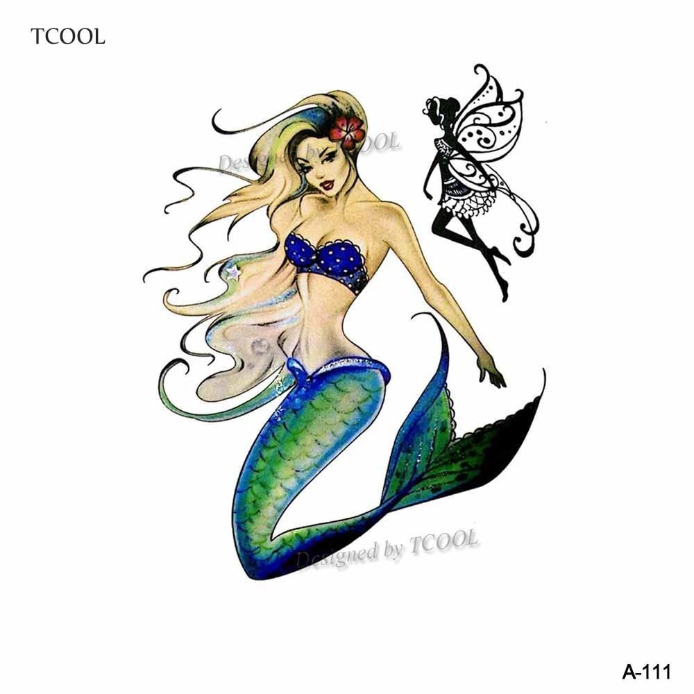 HXMAN Watercolor Mermaid Temporary Tattoos Waterproof Women Fake Hand Tattoos Children Body Art Original Design 9.8X6cm A-111
