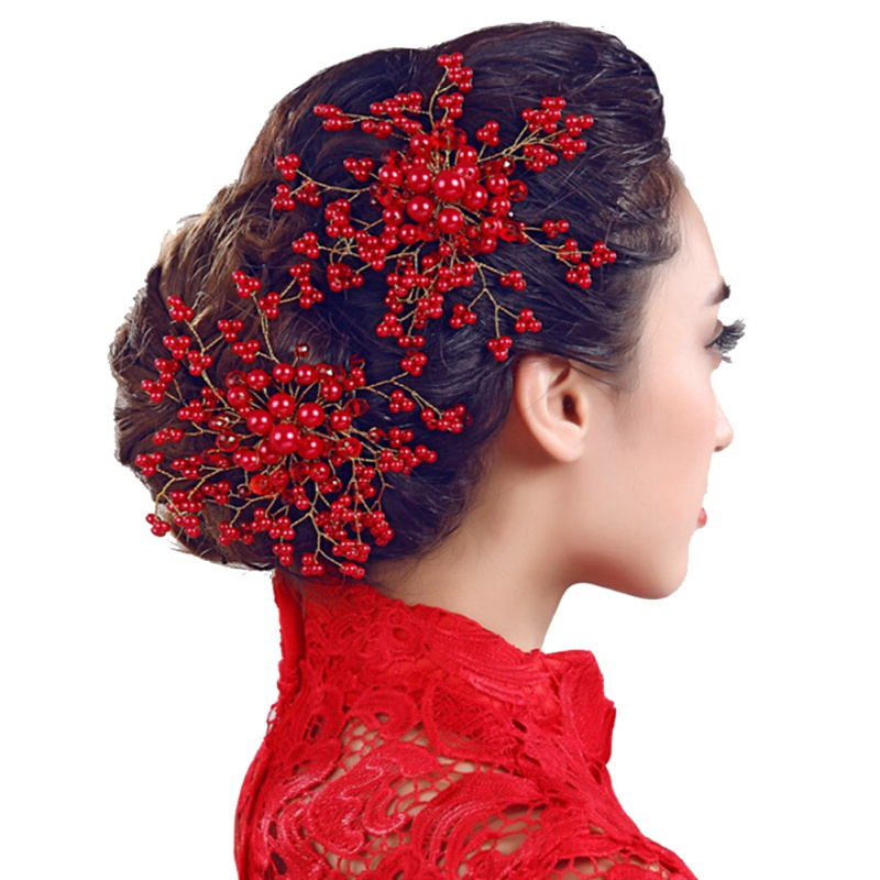 Women Bride Wedding Crystal Flower Hair Clip Pearl Hair Comb Headpiece Gift Hot 03 red gold bride wedding hair tiaras ancient chinese empress hat bride hair piece