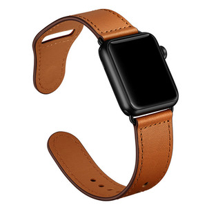 Image 5 - Correa de cuero genuino marrón correa de bucle para Apple Watch 4 3 2 1 38mm 40mm , VIOTOO hombres correa de reloj de cuero para iwatch 4 44mm