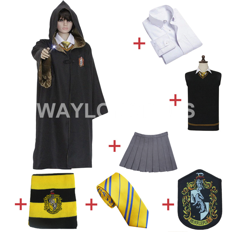 Free Shipping Hufflepuff Cosplay Robe Cloak Skirt Shirt Sweaters Tie Scarf Uniform for Harri Potter Cosplay