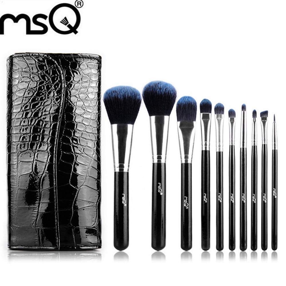 MSQ STB10b1 Professional 10pcs/set Facial Makeup Brushes Powder Blusher Cosmetics Makeup Brushes Set With a Bag Makeup Tool