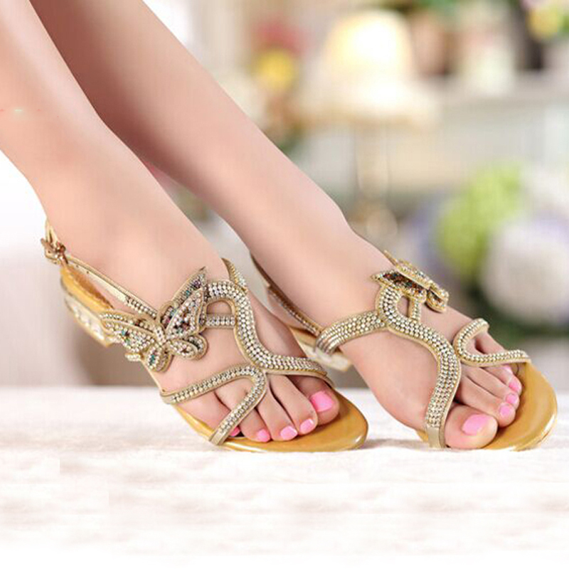 e6068f926554cf Summer Gold Black Color Women Sandals New Style Sandals Open Toe Shoes  Comfortable Female Slippers Shoes