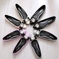 2016 новый лакированной кожи лук женская обувь, горный хрусталь отметил плоские туфли конфеты цвет большой размер удобные ботинки 42 43