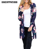 SMDPPWDBB Women Casual Cardigan Autumn Long Sleeve Long Female Thin Sweater Loose Ladies Coat Slim Elegant
