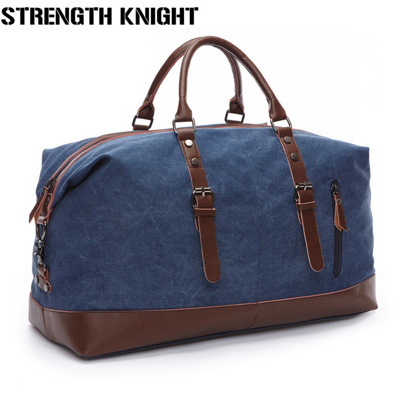 Vintage Canvas Leather Men Travel Bags Carry On Luggage Bags Men Duffel Bags Travel Tote Large Weekend Bag Overnight