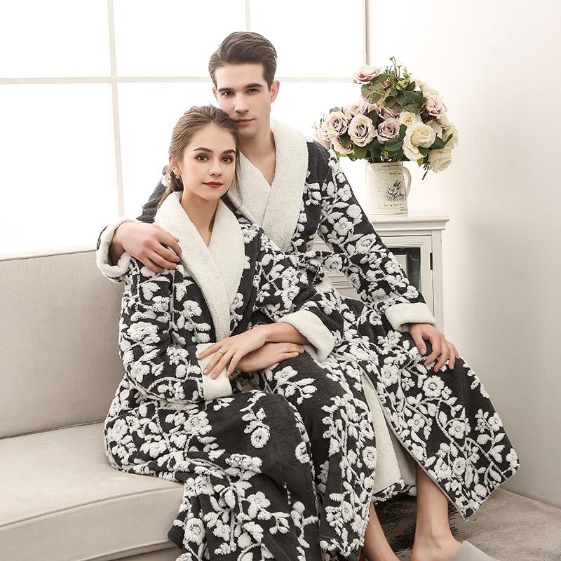 New Lovers Extra Long Winter Warm Bathrobe Men&Women Lounge Flannel Kimono Bath Robe Male Coral Fleece Robes Dressing Gown