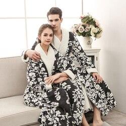 Nieuwe Liefhebbers Extra Lange Winter Warme Badjas Mannen & Vrouwen Lounge Flanel Kimono Badjas Mannelijke Coral Fleece Gewaden Dressing gown