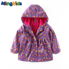 Mingkids High quality pink windbreaker jacket raincoat for girls waterproof with fleece lining European size