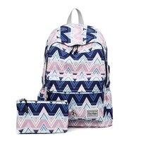 2019 New USB Charging 2 Pcs/set Women Backpacks Cute printing School Bag for Teenage Girls Travel Backpack Ladies Shoulder Bags