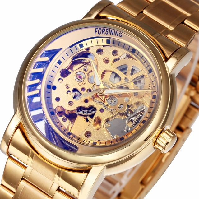 FORSINING Royal Golden Mechanical Watches Men Stainless Steel Strap Half Moon De