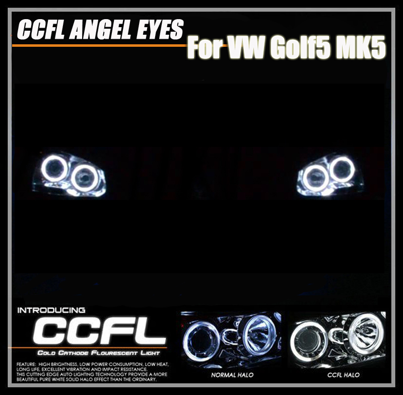 One Set CCFL Angel Eyes Halo Rings Light Kits For VW Golf 5 MK5 Led Daytime Running Lights Daylights