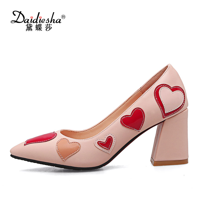 Daidiesha 2017 Spring Summer Women Shoes Heart-shape Slip-on Sweet Pointed Toe Wedding Shoes Square Heel High Heel Pumps Hot spring summer women leather flat shoes 2017 sweet bowtie flats women shoes pointed toe slip on ladies shoes low heel shoes pink