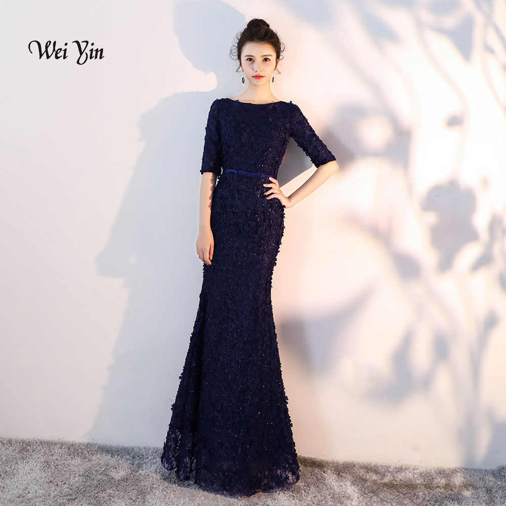 weiyin Navy Blue Flowers Lace Half Sleeves Mermaid Evening Dresses Muslim  Fashion Elegant Tulle Evening Gowns db1212ed4977