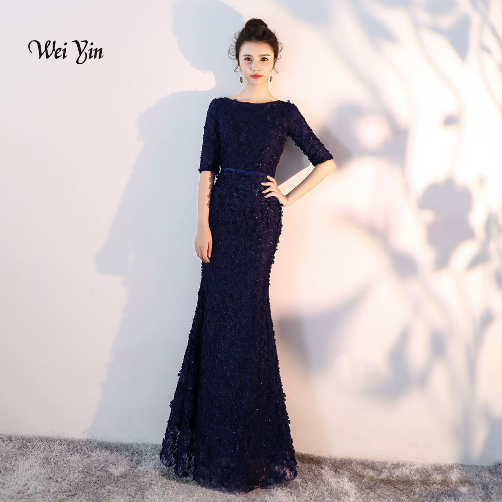 weiyin Navy Blue Flowers Lace Half Sleeves Mermaid   Evening     Dresses   Muslim Fashion Elegant Tulle   Evening   Gowns 2019 WY837