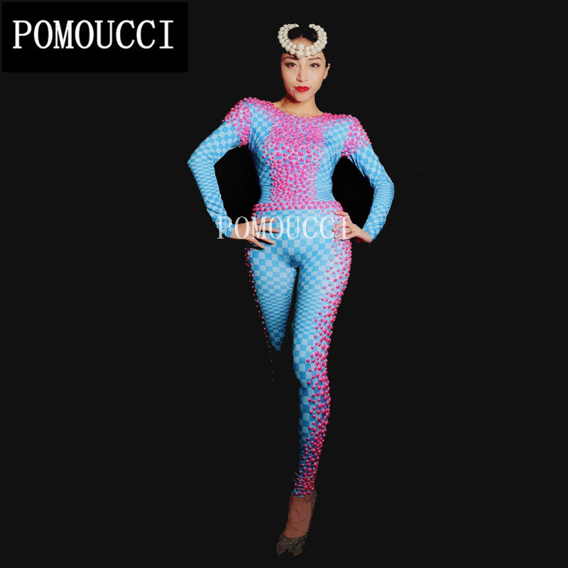 Outfit Femmes Parti Scintillant Performance Body Strass Stage Perle Célébrer Bleu Salopette Barboteuses Scintillent Porter Sexy Costume wYanRYrq