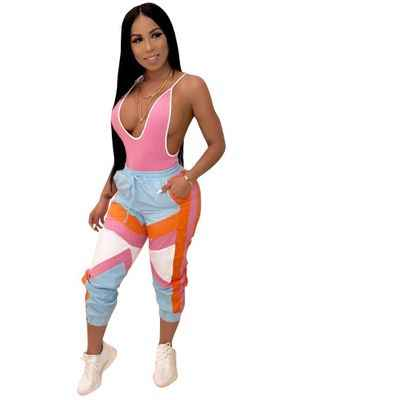 2019 hot selling new women sports drawstring waist colorful splicing pants tight fashion active wear long pants
