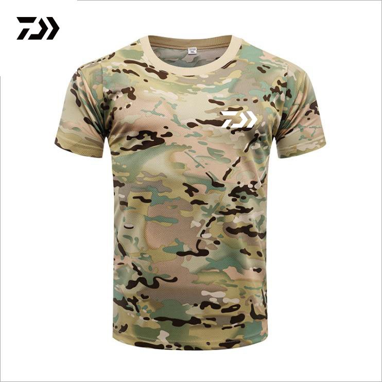 Breathable Men Fishing Clothing Short Sleeve V Neck Anti UV Outdoor Clothes