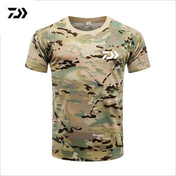 Mężczyźni DAIWA Fishing T Shirt letni męski z krótkim rękawem kamuflaż odzież wędkarska Outdoor Sport oddychające szybkie suche ubrania wędkarskie tanie i dobre opinie Fiodcrg