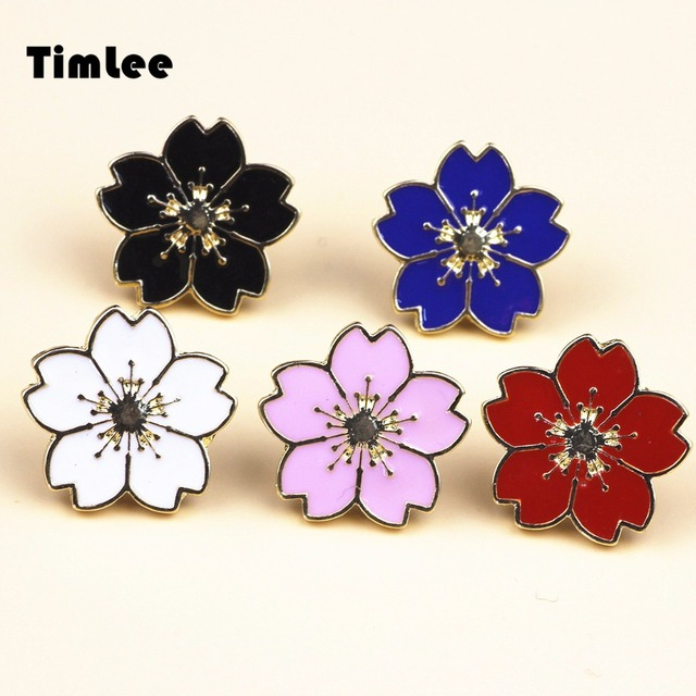 Timlee X211  Free shipping Beautiful Cherry Blossoms Uniform Badge Pin Alloy Brooch Pins,Fashion Jewelry