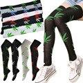 Брендовые женские длинные носки из хлопка с милыми листьями, чулки выше колена для девушек, сексуальные хлопковые чулки для женщин, Meias - фото