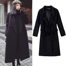 jacket womens Belt Waist Slim Longline black Trench Coat 2016 Winter Casual Elegant Long Sleeve Coats Women