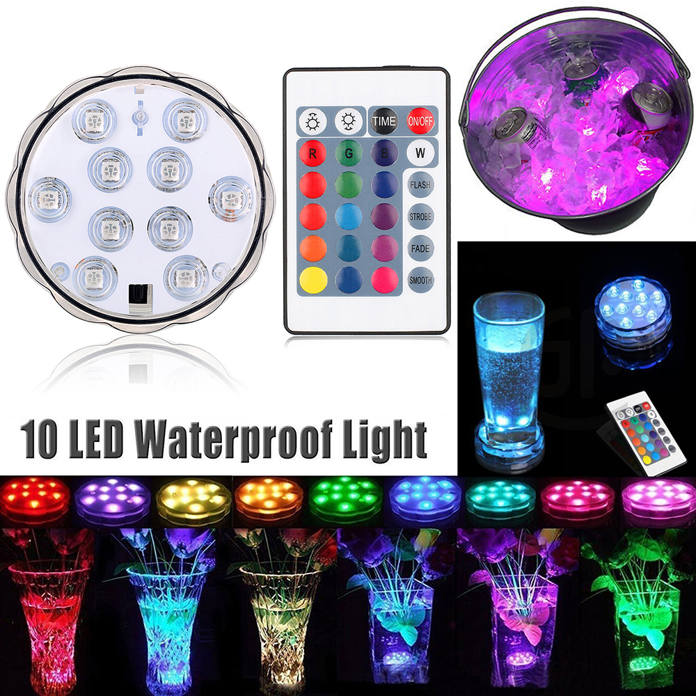 Waterproof Remote Control Diving Decoration Lamp Multi 10 LED Light Colored Light Bulb Submersible RGB LED Light Party Lamp D20
