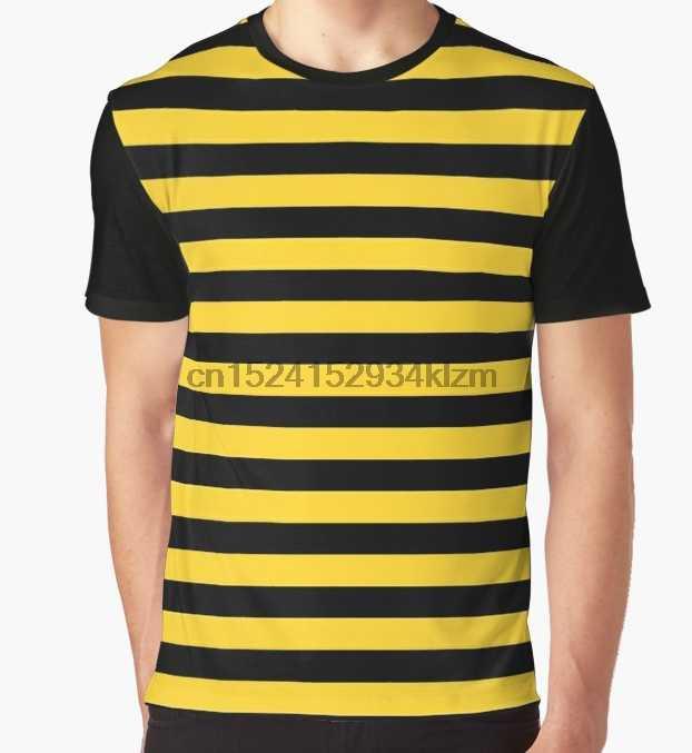 4310388685a0aa All Over Print T-Shirt Men Funy tshirt Yellow and Black Honey Bee Stripes  Short