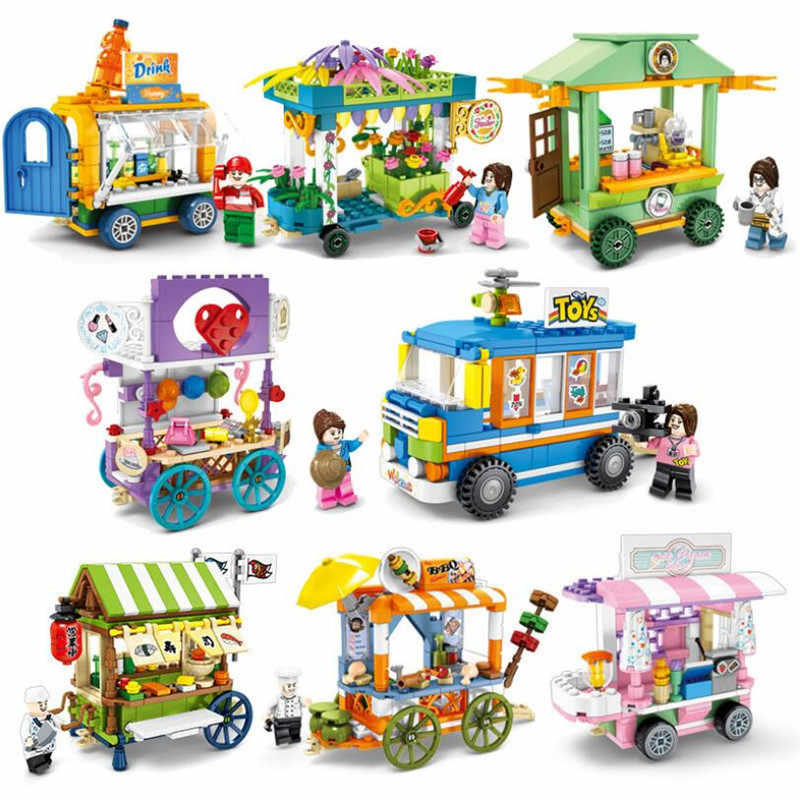 New Legoinglys City Street Creator Ice Cream Truck Food Store View With Friends Buildings Blocks Educational Toys For Children