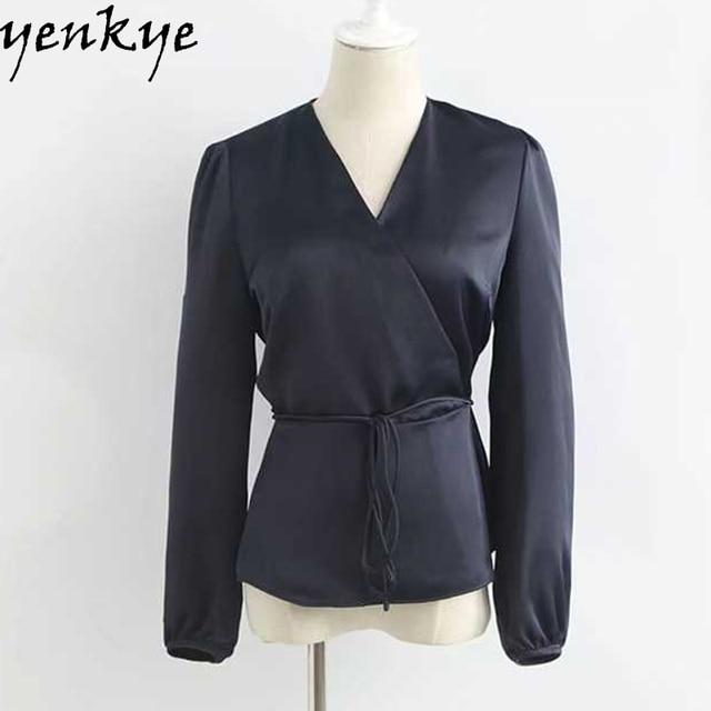 98c355c3c5a44d 2017 Navy Blue Satin Summer Blouse Shirt Women Cross V Neck Long Sleeve  With Belt Pullover Brand Tops blusa XZWM1214