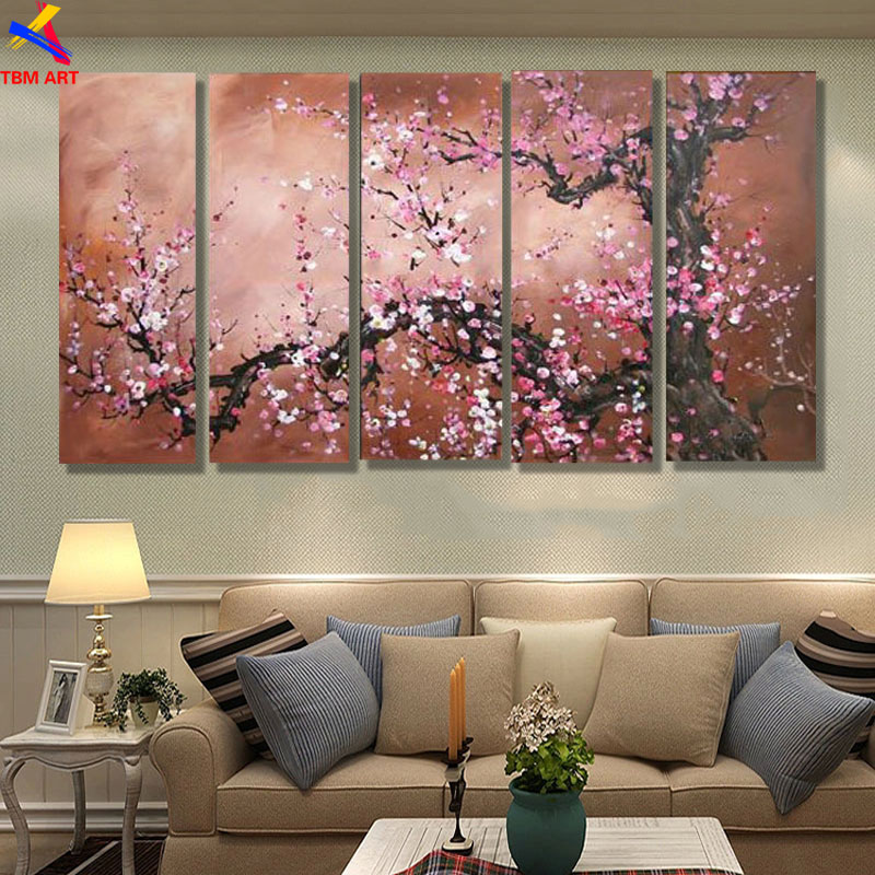 The Plum Blossom Canvas Painting, Handmade Modern Abstract Oil Painting on Canvas ,Chinese Flower Oil Painting No Frame JYJLV201